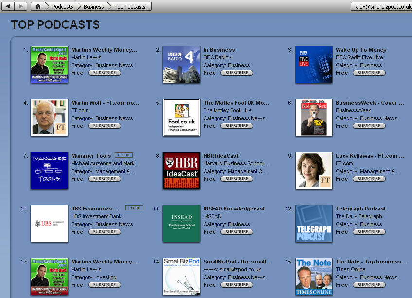 iTunes Top Business Podcast