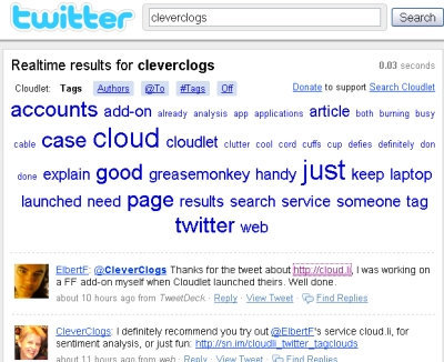 INTSPEI's Search Cloudlet atop Twitter's results